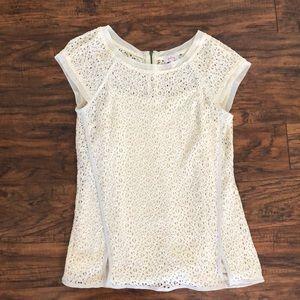 Cream floral lace blouse